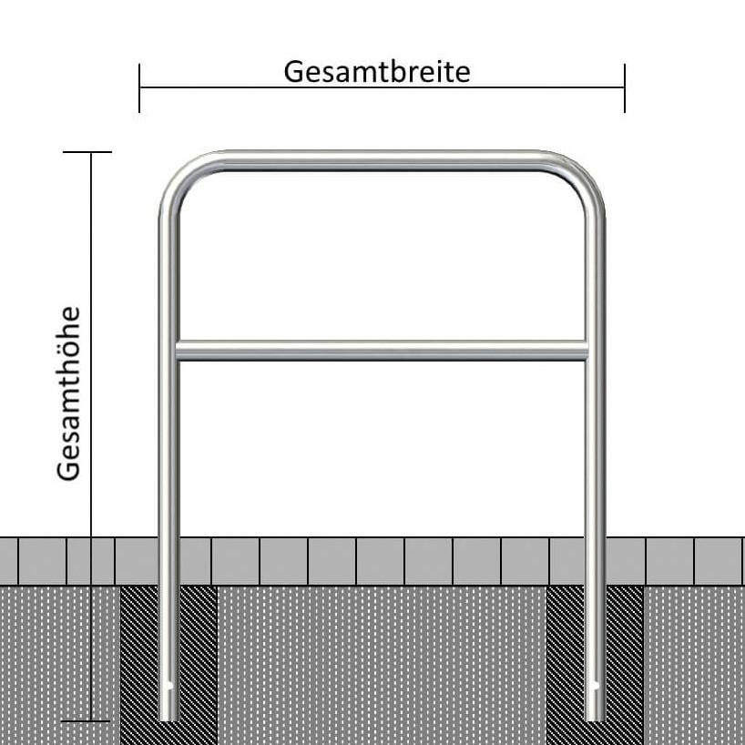 Edelstahlbügel Ø 48 mm, mit Querholm
