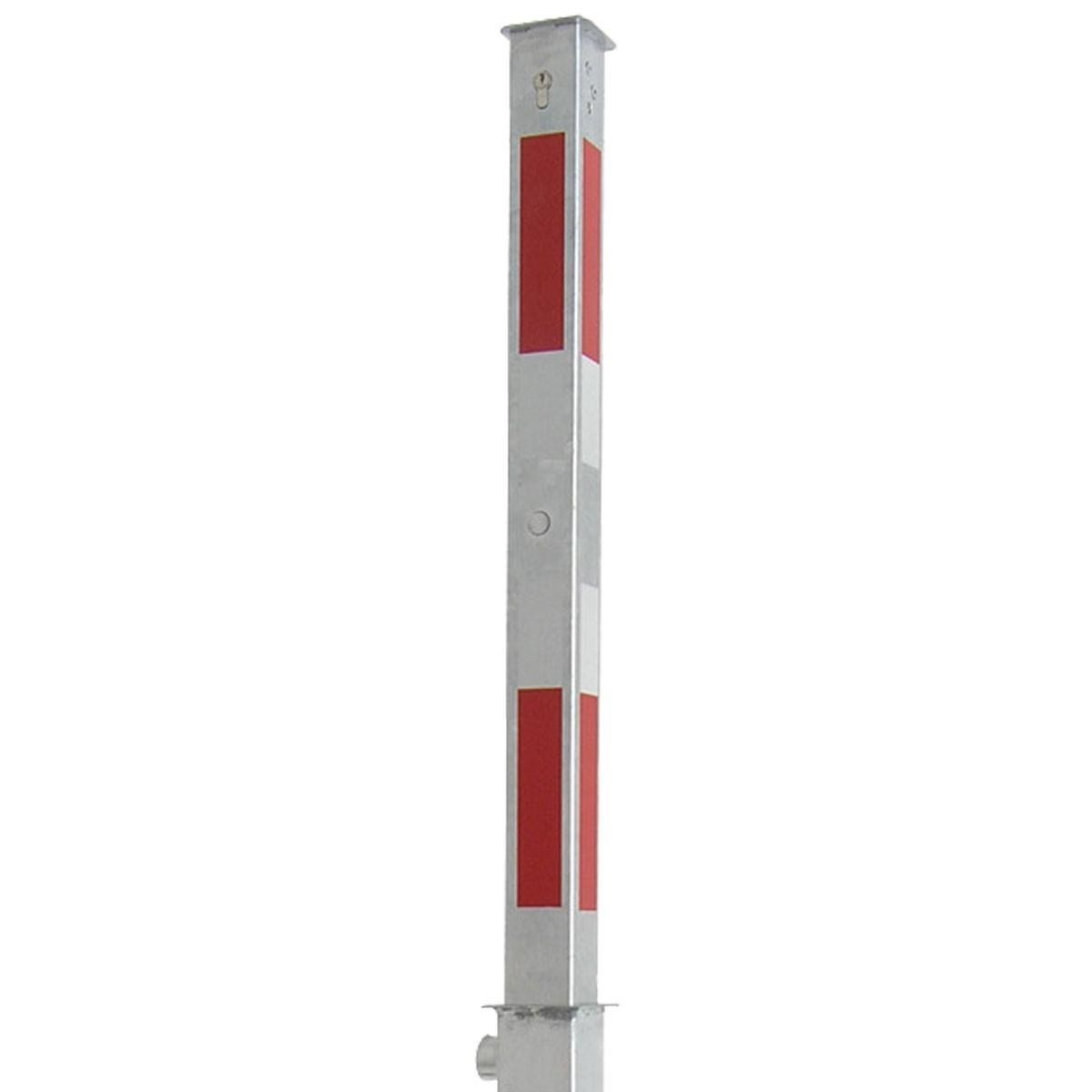 Absperrpfosten 70 x 70 mm Stahlrohr feuerverzinkt mit weiß rot Leuchtstreifen vollversenkbar mit Profilzylinderschloss