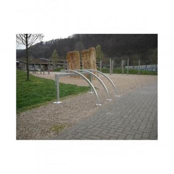 Fahrradanlehnbügel als Reihenanlage 80 x 80 mm Stahlrohr für Dübelbefestigung