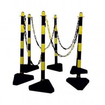 Kettenständer-Set 6 Kunststoffpfosten Ø 40 mm mit Beton gefülltem dreieckigen Fuß, 10 m Kunststoffkette