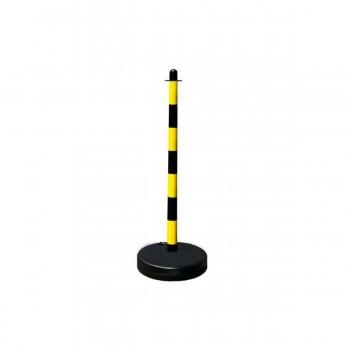 Kettenständer aus Kunststoff mit befüllbarem Fuß und Ösen gelb / schwarz