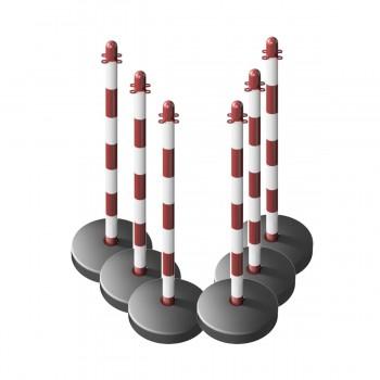 Kettenständer-Set 6 Kunststoffpfosten Ø40 mm mit befüllbarem runden Fuß aus Kunststoff, 10m Kunststoffkette weiß / rot