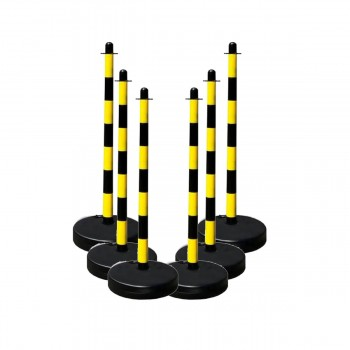 Kettenständer-Set 6 Kunststoffpfosten Ø 40 mm mit befüllbarem runden Fuß aus Kunststoff, 10 m Kunststoffkette
