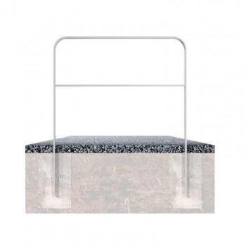 Anlehnbügel aus Flachstahl 50 x 12 mm mit Querholm – in gebogener Ausführung, feuerverzinkt, zum einbetonieren