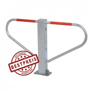 Parkplatzsperre für Dübelbefestigung  70 x 70 mm umlegbar mit Rundzylinder