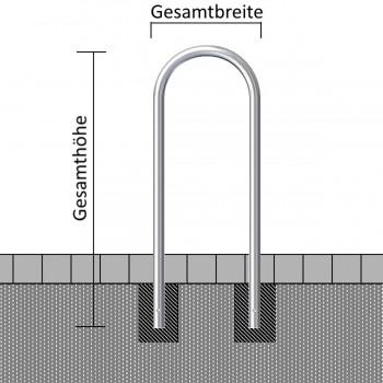 Rundbügel aus Stahlrohr Ø 48 x 2,5 mm Breite 460 mm feuerverzinkt
