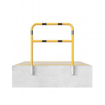 Schutzbügel mit Querholm Ø 48 x 2,5 mm für Wandmontage für Dübelbefestigung gelb / schwarz