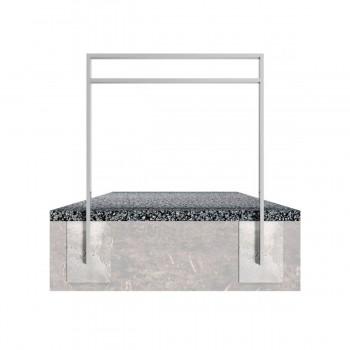 Anlehnbügel aus Stahlrohr 80 x 20 mm, mit Querholm-kleiner Abstand, feuerverzinkt, zum einbetonieren