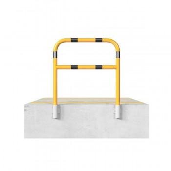 Schutzbügel mit Querholm Ø 60 x 2,5 mm für Wandmontage für Dübelbefestigung gelb / schwarz