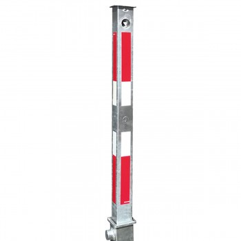 Absperrpfosten 70 x 70 mm Stahlrohr feuerverzinkt mit weiß rot Leuchtstreifen vollversenkbar mitt Dreikant