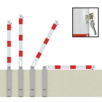 Absperrpfosten 70 x 70 mm Stahlrohr weiß rot umlegbar mit Profilzylinderschloss mit Hebe- Kippmechanik