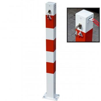 Absperrpfosten 70 x 70 mm Stahlrohr für abschliessbare Ketten mit Profilzylinderschloss