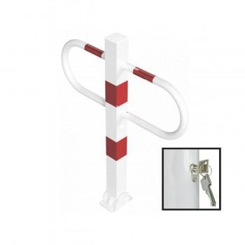 Parkplatzsperre 70 x 70 mm Stahlrohr Überflur 900 mm umlegbar mit Profilzylinderschloss  – weiß rot