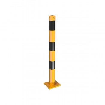 Absperrpfosten Ø 76 mm Abnehmbar für Dübelbefestigung gelb / schwarz