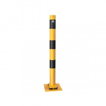Absperrpfosten Anfahrsicher neigbar Ø 76 mm für Dübelbefestigung gelb / schwarz