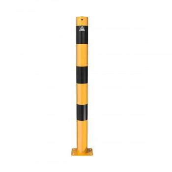 Absperrpfosten Ø 76 mm Stahlrohr für Dübelbefestigung gelb / schwarz