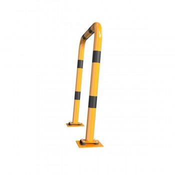 Rammschutzbügel elastisch, neigbar Ø 76 mm Stahlrohr für Dübelbefestigung gelb / schwarz