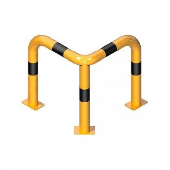 Rammschutzbügel 90° gleichschenkelig Ø 76 mm Stahlrohr für Dübelbefestigung gelb / schwarz
