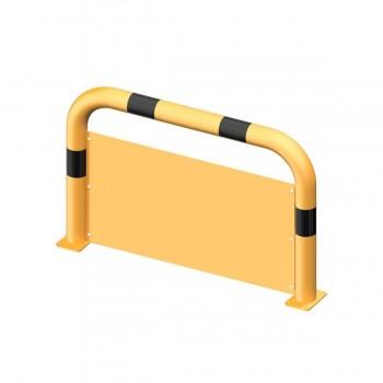 Schutzbügel mit Unterfahrschutz Ø 76 mm Stahlrohr für Dübelbefestigung gelb / schwarz