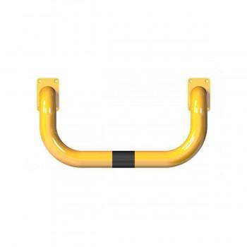 Rammschutzbügel doppelseitige Ø 76 mm Stahlrohr für Dübelbefestigung gelb / schwarz