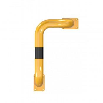 Rammschutzbügel 90° einseitige vertiefte Ausführung Ø 76 mm Stahlrohr für Dübelbefestigung gelb / schwarz