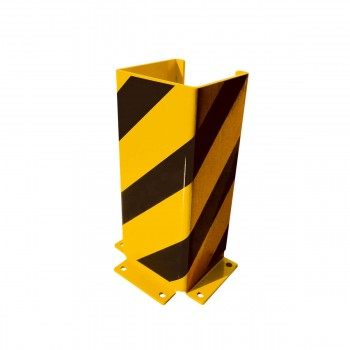 Anfahrschutz U-Profil 160 x 160 mm mit verstärkten Kanten Stahlblech 6 mm stark zum Aufdübeln gelb / schwarz Höhe 400 mm