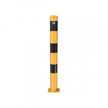 Absperrpfosten Ø 89 mm Stahlrohr für Dübelbefestigung gelb / schwarz